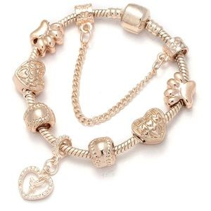 Jewelry - Brand New Rose Gold 18cm Charm Bracelet